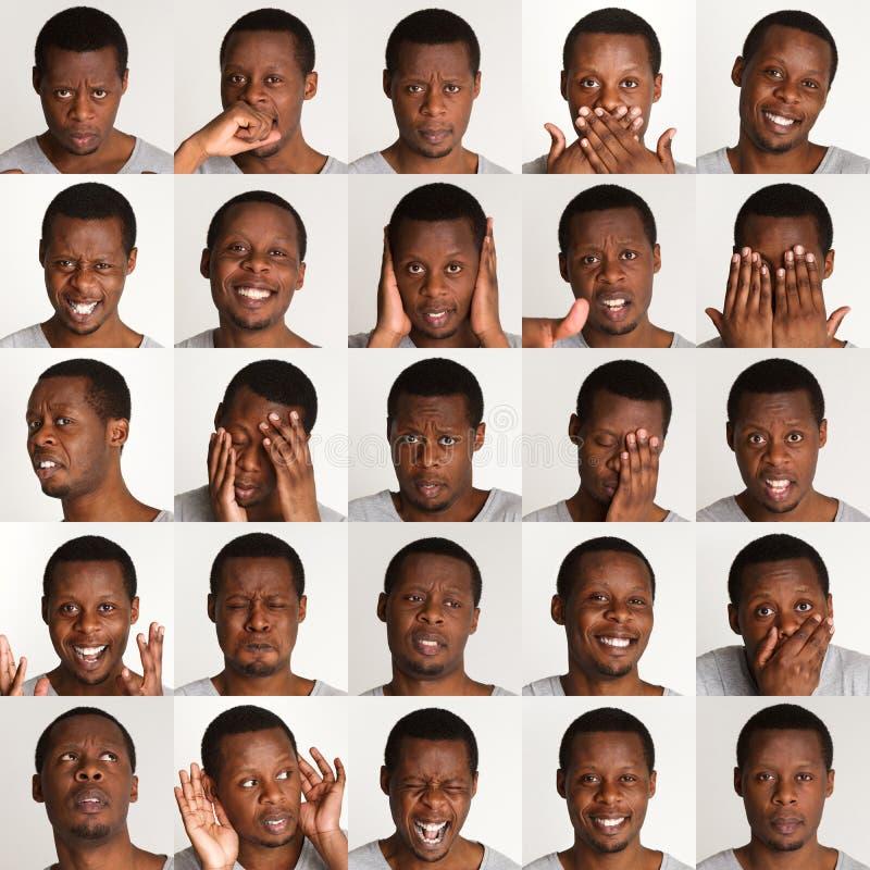 Σύνολο πορτρέτων μαύρων ` s με τις διαφορετικές συγκινήσεις στοκ εικόνες