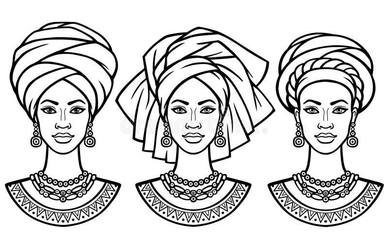 Σύνολο πορτρέτων οι αφρικανικές γυναίκες στα διάφορα τουρμπάνια ελεύθερη απεικόνιση δικαιώματος