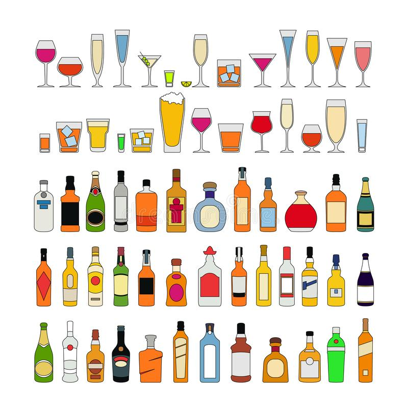Σύνολο ποτών οινοπνεύματος στα γυαλιά που απομονώνεται στην άσπρη διανυσματική απεικόνιση υποβάθρου Εορτασμός διακοπών απεικόνιση αποθεμάτων