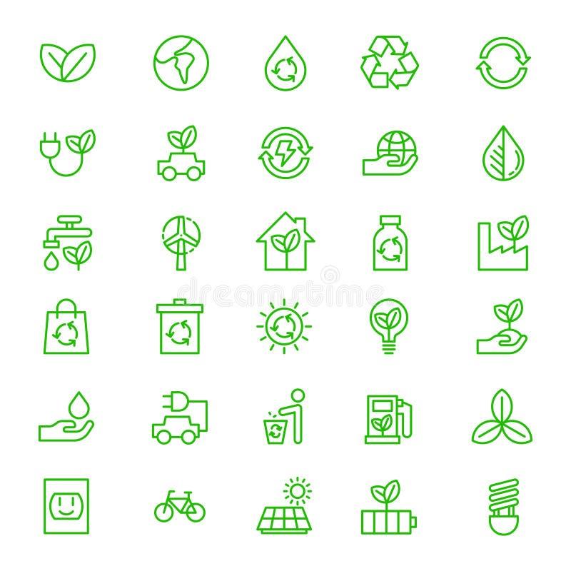 Σύνολο πράσινου διανύσματος περιλήψεων γήινων εικονιδίων Eco στοκ εικόνες
