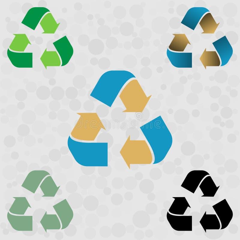Σύνολο πράσινου μπλε κίτρινου ανακύκλωσης βέλους εικονιδίων διάνυσμα ασπίδων απεικόνισης 10 eps η ανασκόπηση απομόνωσε το λευκό ελεύθερη απεικόνιση δικαιώματος