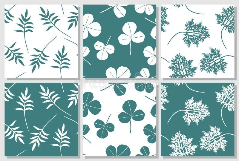 Σύνολο πράσινων και άσπρων άνευ ραφής σχεδίων με τα φύλλα ελεύθερη απεικόνιση δικαιώματος