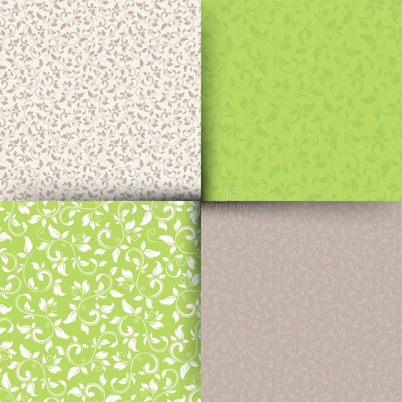 Σύνολο πράσινων και μπεζ άνευ ραφής floral σχεδίων επίσης corel σύρετε το διάνυσμα απεικόνισης απεικόνιση αποθεμάτων