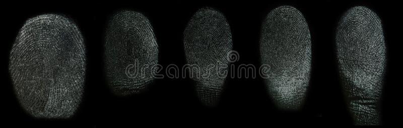 Σύνολο πραγματικών δακτυλικών αποτυπωμάτων στοκ φωτογραφίες