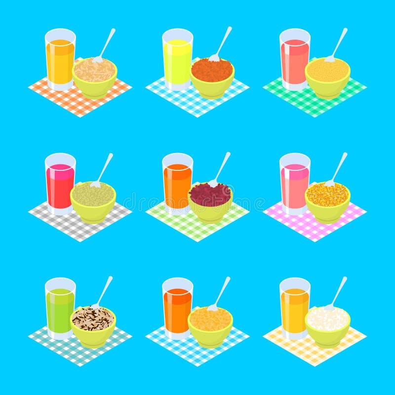 Σύνολο 2 προγευμάτων Χυμός κουάκερ και φρούτων τρόφιμα υγιή διάνυσμα διανυσματική απεικόνιση
