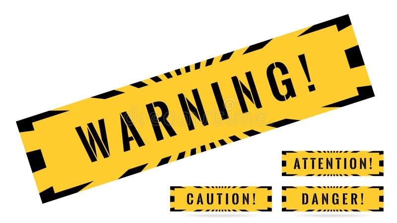 Σύνολο προειδοποιητικών σημαδιών Προειδοποίηση, προσοχή, κίνδυνος, προσοχή ελεύθερη απεικόνιση δικαιώματος