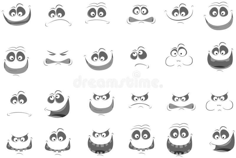 Σύνολο προσώπων με το διάφορο emo. Διανυσματική απεικόνιση ελεύθερη απεικόνιση δικαιώματος