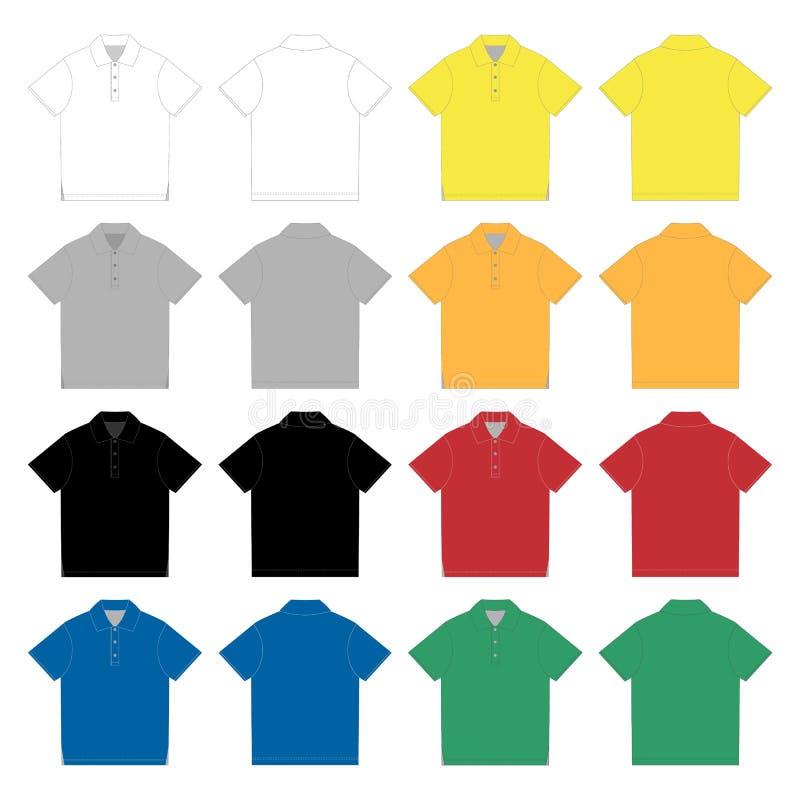 Σύνολο προτύπου σχεδίου μπλουζών πόλο Τεχνική μπλούζα πόλο σκίτσων για άνδρες και για γυναίκες ελεύθερη απεικόνιση δικαιώματος