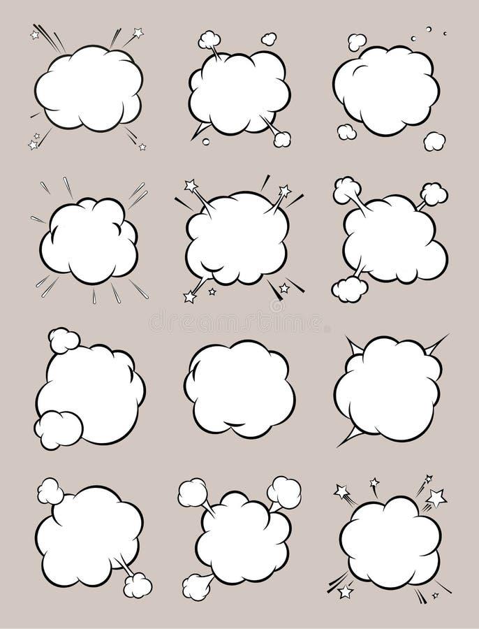 Σύνολο προτύπων για το υπόβαθρο κινούμενων σχεδίων Έκρηξη κόμικς βραχιόνων, διανυσματική απεικόνιση λεκτικών φυσαλίδων διανυσματική απεικόνιση
