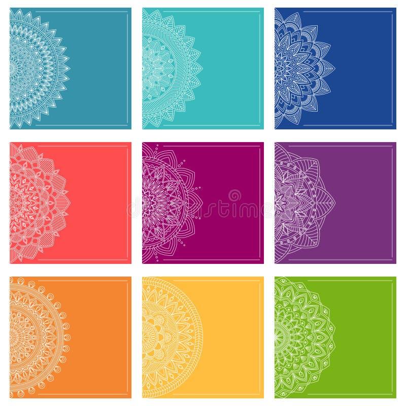 Σύνολο προτύπων ευχετήριων καρτών με τα mandalas, διανυσματικό illustratio ελεύθερη απεικόνιση δικαιώματος