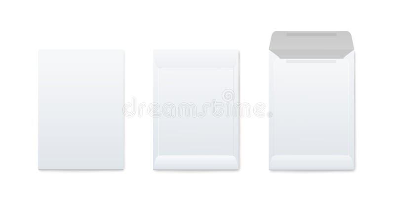 Σύνολο προτύπων κάθετου κενού ανοικτού και κλειστού άσπρου ρεαλιστικού ύφους φακέλων απεικόνιση αποθεμάτων