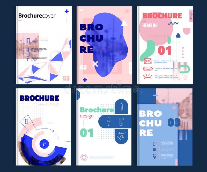 Σύνολο προτύπων κάλυψης φυλλάδιων με τις ελάχιστες σύγχρονες μορφές Σχέδιο κάλυψης επιχειρησιακών φυλλάδιων, κάλυψη φυλλάδιων ιπτ διανυσματική απεικόνιση