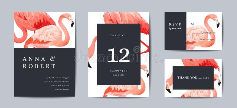Σύνολο προτύπων καρτών γαμήλιας πρόσκλησης Τα τροπικά πουλιά φλαμίγκο σώζουν τις κάρτες ημερομηνίας ή συγχαρητηρίων Ο γάμος προσκ απεικόνιση αποθεμάτων