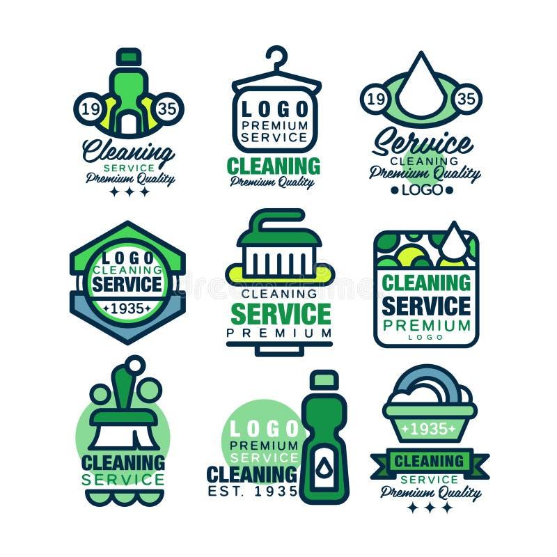 Σύνολο προτύπων λογότυπων εξαιρετικής ποιότητας υπηρεσιών καθαρισμού, σπίτι διανυσματική απεικόνιση
