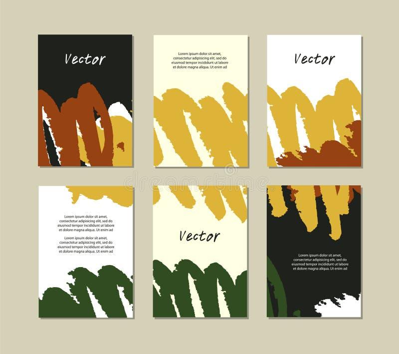 Σύνολο προτύπων με συρμένες τις χέρι συστάσεις που γίνονται με τα κτυπήματα βουρτσών watercolor Συλλογή με τα διανυσματικά εμβλήμ ελεύθερη απεικόνιση δικαιώματος