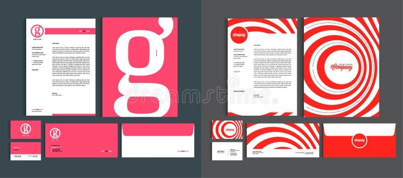Σύνολο προτύπων σχεδίου επιχειρησιακής ταυτότητας Χαρτικά καθορισμένα - πρότυπο επικεφαλίδων A4, κάρτα ονόματος, φάκελος, φάκελλο διανυσματική απεικόνιση