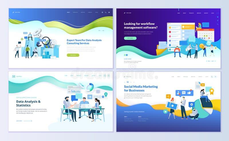 Σύνολο προτύπων σχεδίου ιστοσελίδας για την ανάλυση στοιχείων, διαχείριση app, διαβούλευση, κοινωνικό μάρκετινγκ μέσων διανυσματική απεικόνιση