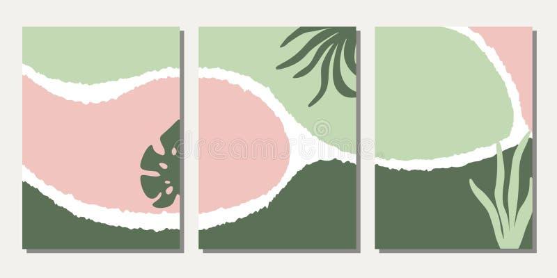 Σύνολο προτύπων σχεδίου με τις αφηρημένες floral μορφές ελεύθερη απεικόνιση δικαιώματος