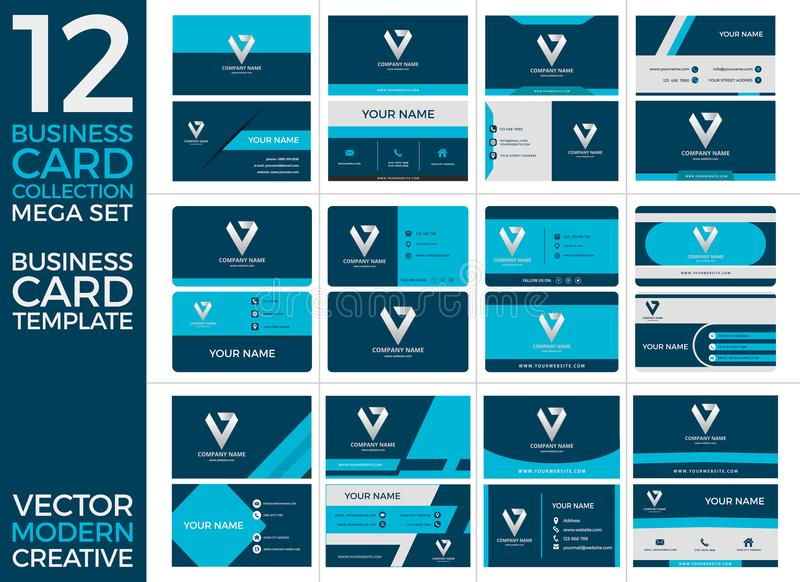 Σύνολο προτύπων τυπωμένων υλών επαγγελματικών καρτών, Eps διανυσματικής απεικόνισης, σύγχρονου και δημιουργικού σχεδίου ελεύθερη απεικόνιση δικαιώματος