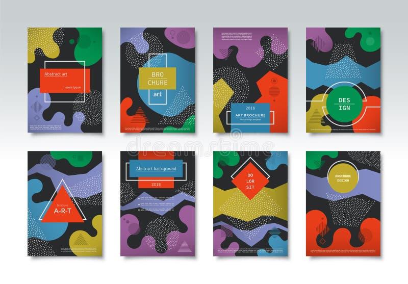 Σύνολο προτύπων φυλλάδιων, καλύψεις στο ελάχιστο γεωμετρικό ύφος της Μέμφιδας hipster διανυσματική απεικόνιση