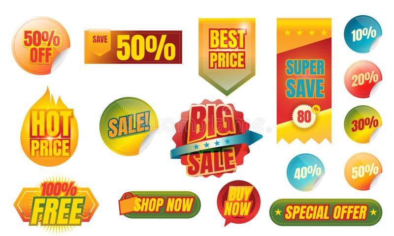 Σύνολο προωθητικών διακριτικών και ετικεττών πώλησης, διανυσματική ένταση απεικόνισης διανυσματική απεικόνιση