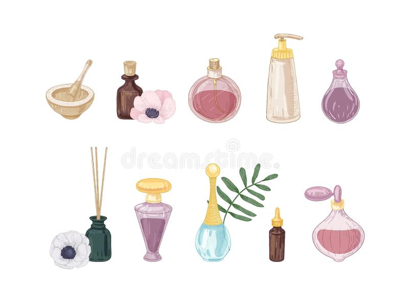 Σύνολο προϊόντων αρώματος στα μπουκάλια γυαλιού και φιαλών που απομονώνονται στο άσπρο υπόβαθρο Δέσμη των σχεδίων των fragrances ελεύθερη απεικόνιση δικαιώματος