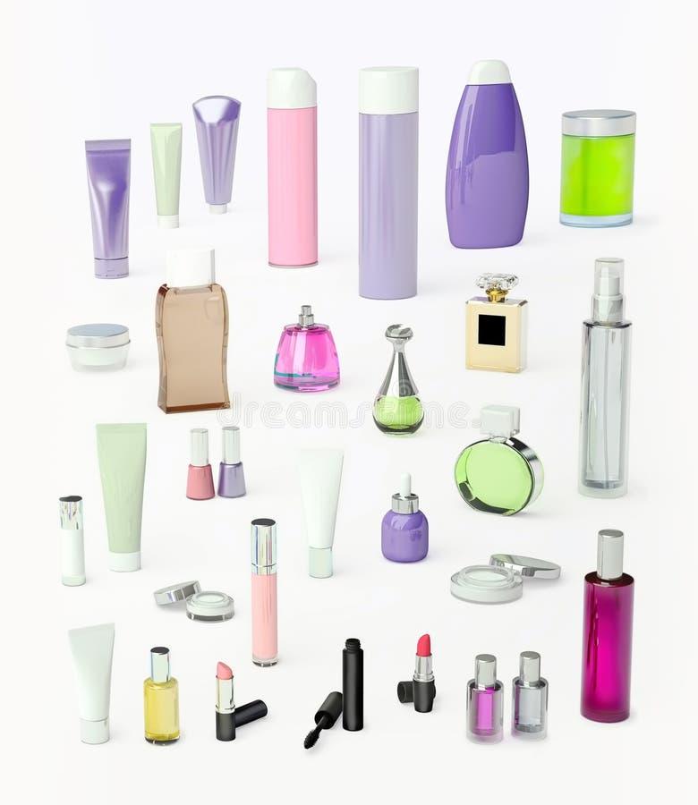 Σύνολο προϊόντων σύνθεσης και καθημερινά, καλλυντικό προσοχής ομορφιάς στο φως στοκ φωτογραφία