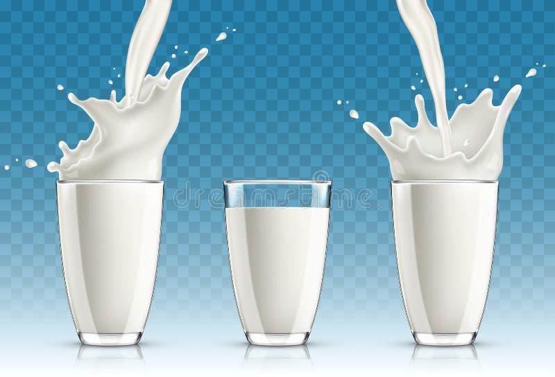 Σύνολο ραντίσματος γάλακτος από το γυαλί διανυσματική απεικόνιση