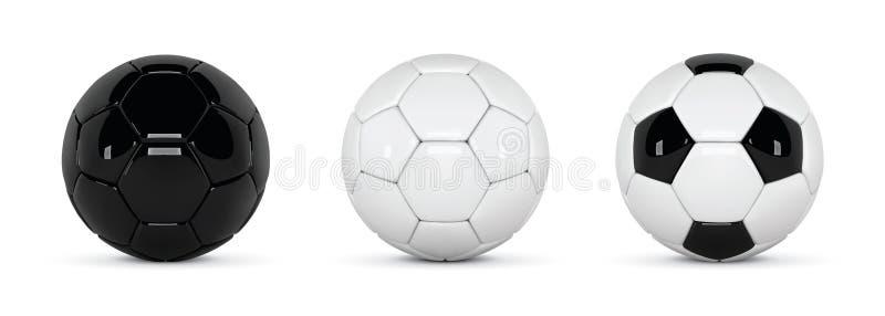 Σύνολο ρεαλιστικής σφαιρών ποδοσφαίρου ή σφαίρας ποδοσφαίρου στο άσπρο υπόβαθρο τρισδιάστατη διανυσματική σφαίρα ύφους Γραπτές σφ ελεύθερη απεικόνιση δικαιώματος