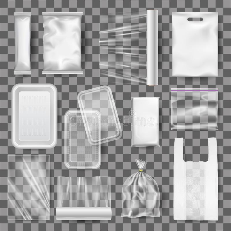 Σύνολο ρεαλιστικής χλεύης επάνω των πλαστικών εμπορευματοκιβωτίων τροφίμων, συσκευασία διανυσματική απεικόνιση