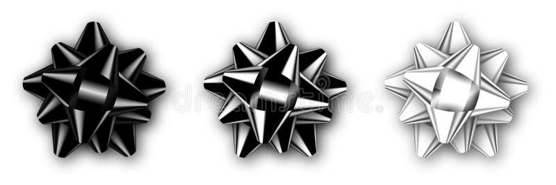 Σύνολο ρεαλιστικού απομονωμένου μαύρου, ασημένιου και άσπρου τόξου με τη σκιά Πρότυπο για έναν εορτασμό απεικόνιση αποθεμάτων