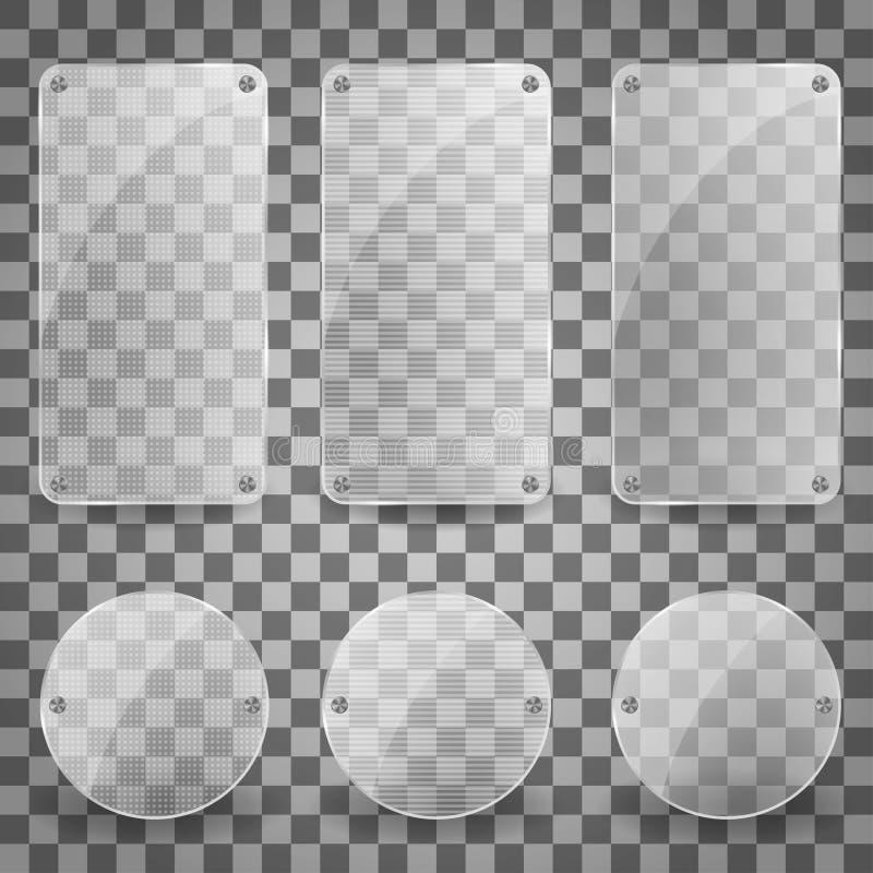 Σύνολο ρεαλιστικού διανυσματικού πιάτου γυαλιού λαμπρό απεικονίζοντας τετραγωνικό εικονίδιο εμβλημάτων Διανυσματική απεικόνιση εμ ελεύθερη απεικόνιση δικαιώματος