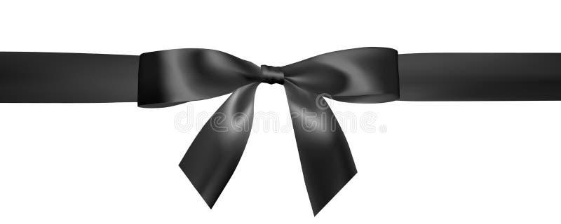 Σύνολο ρεαλιστικού μαύρου τόξου με τη μαύρη κορδέλλα Στοιχείο για τα δώρα διακοσμήσεων, χαιρετισμοί, διακοπές, σχέδιο ημέρας βαλε διανυσματική απεικόνιση