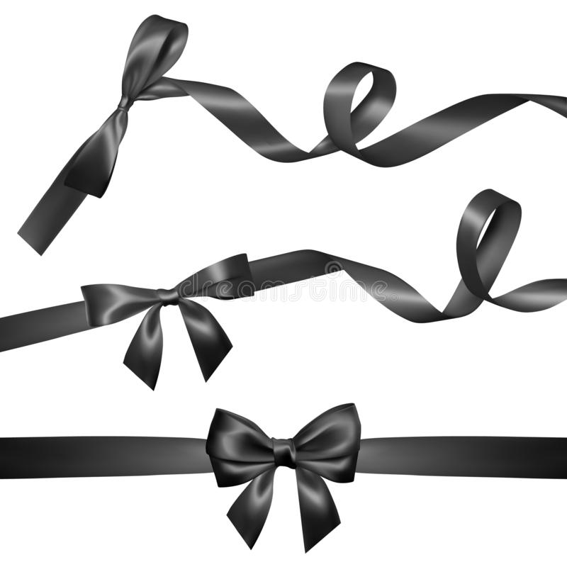 Σύνολο ρεαλιστικού μαύρου τόξου με τη μαύρη κορδέλλα Στοιχείο για τα δώρα διακοσμήσεων, χαιρετισμοί, διακοπές, σχέδιο ημέρας βαλε ελεύθερη απεικόνιση δικαιώματος