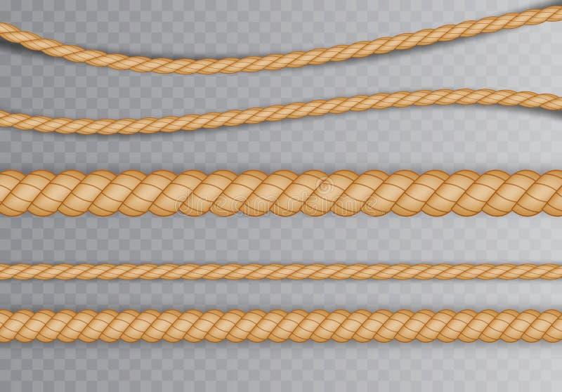 Σύνολο ρεαλιστικών διαφορετικών σχοινιών για τη διακόσμηση και κάλυψης σε ένα διαφανές υπόβαθρο r απεικόνιση αποθεμάτων