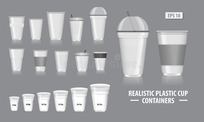 Σύνολο ρεαλιστικών εμπορευματοκιβωτίων φλυτζανιών, με το σαφές πλαστικό στα μίας χρήσης φλυτζάνια, για τη σόδα, το τσάι, τον καφέ διανυσματική απεικόνιση