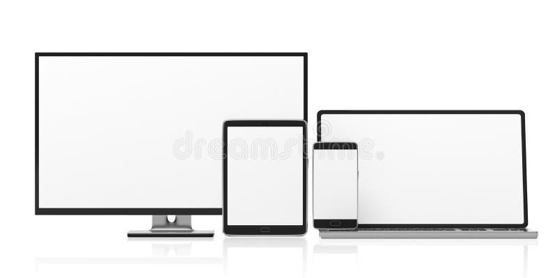 Σύνολο ρεαλιστικών κενών οργάνων ελέγχου Όργανο ελέγχου, lap-top, ταμπλέτα και smartphone υπολογιστών που απομονώνονται στο άσπρο ελεύθερη απεικόνιση δικαιώματος