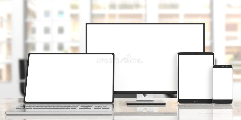 Σύνολο ρεαλιστικών κενών οργάνων ελέγχου Όργανο ελέγχου, lap-top, ταμπλέτα και smartphone υπολογιστών στο ξύλινο γραφείο, υπόβαθρ διανυσματική απεικόνιση