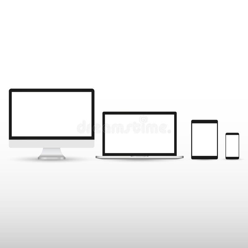 Σύνολο ρεαλιστικών οργάνων ελέγχου υπολογιστών, lap-top, ταμπλετών και κινητών τηλεφώνων Ηλεκτρονικές συσκευές που απομονώνονται  διανυσματική απεικόνιση