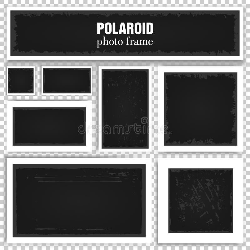 Σύνολο ρεαλιστικών πλαισίων polaroid με τις σκιές που απομονώνονται στο διαφανές υπόβαθρο απεικόνιση αποθεμάτων