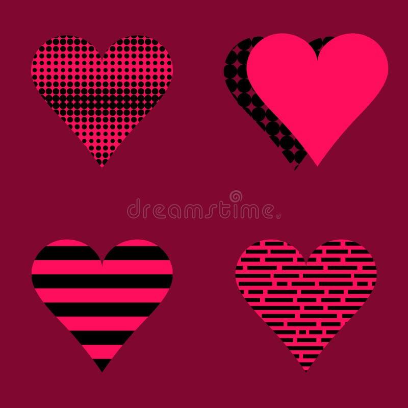 Σύνολο ροζ και Μαύρου καρδιών διανυσματική απεικόνιση