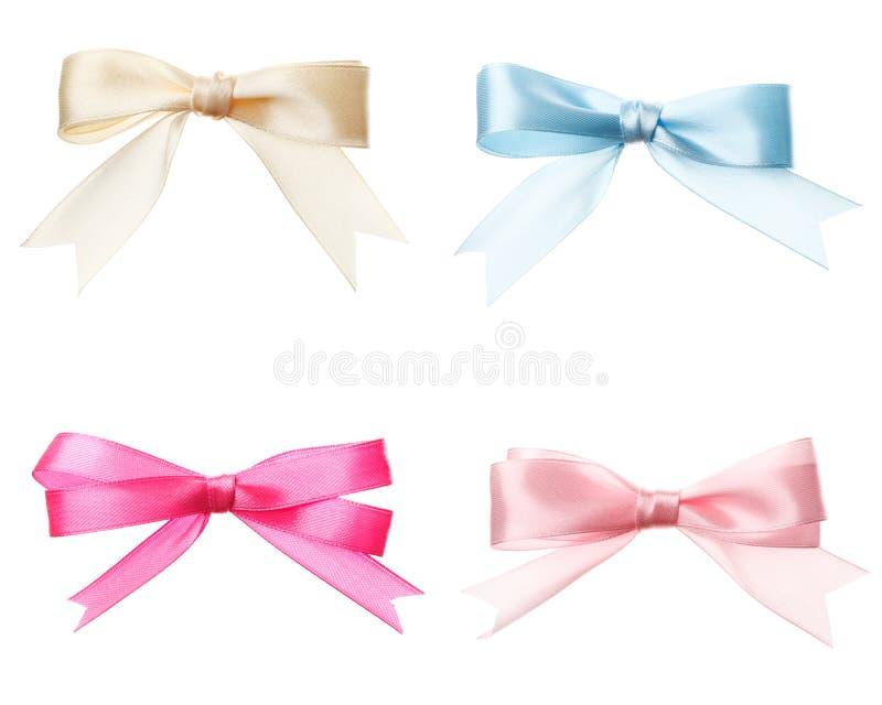 Σύνολο ροζ τόξων, λευκό, μπλε που απομονώνεται στοκ φωτογραφίες