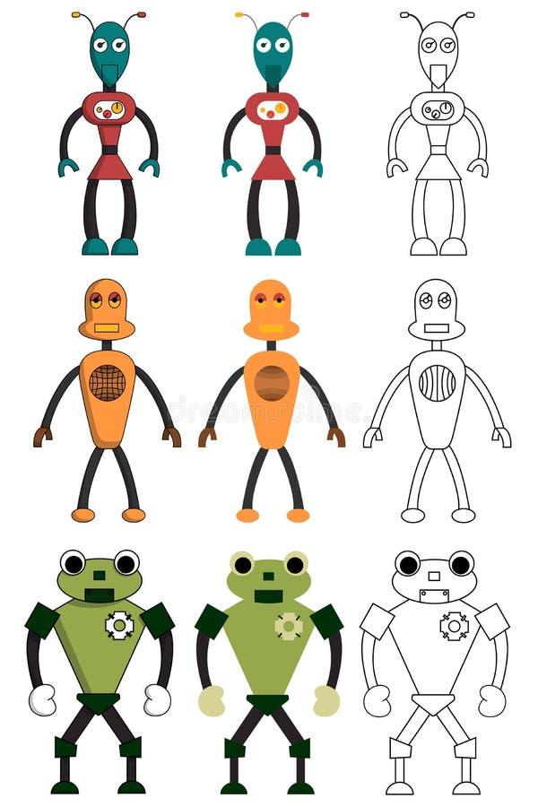 Σύνολο ρομπότ στο διαφορετικό ύφος Απομονωμένη διανυσματική απεικόνιση αποθεμάτων ελεύθερη απεικόνιση δικαιώματος