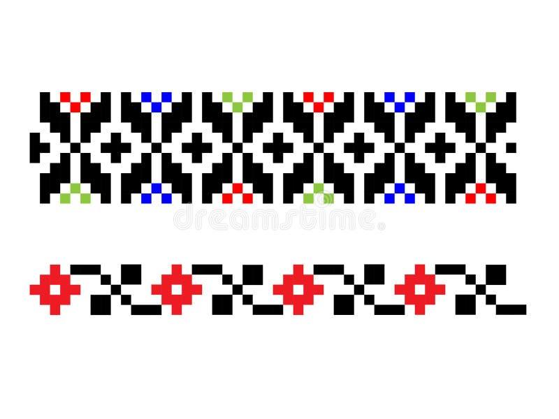 Σύνολο ρουμανικού παραδοσιακού λαϊκού μοτίβου δύο απεικόνιση αποθεμάτων