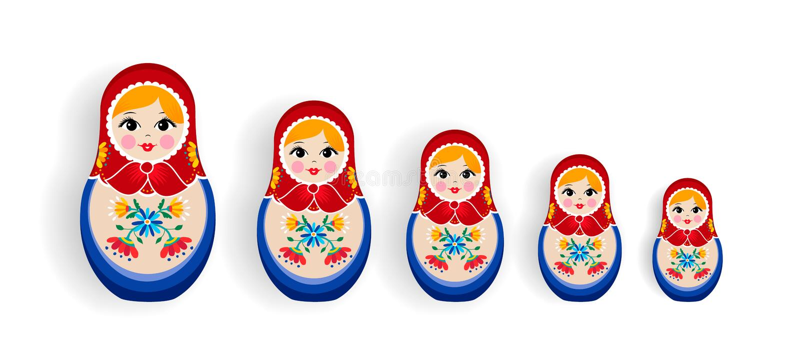 Σύνολο ρωσικού να τοποθετηθεί κουκλών ή αναμνηστικού της Ρωσίας διανυσματική απεικόνιση