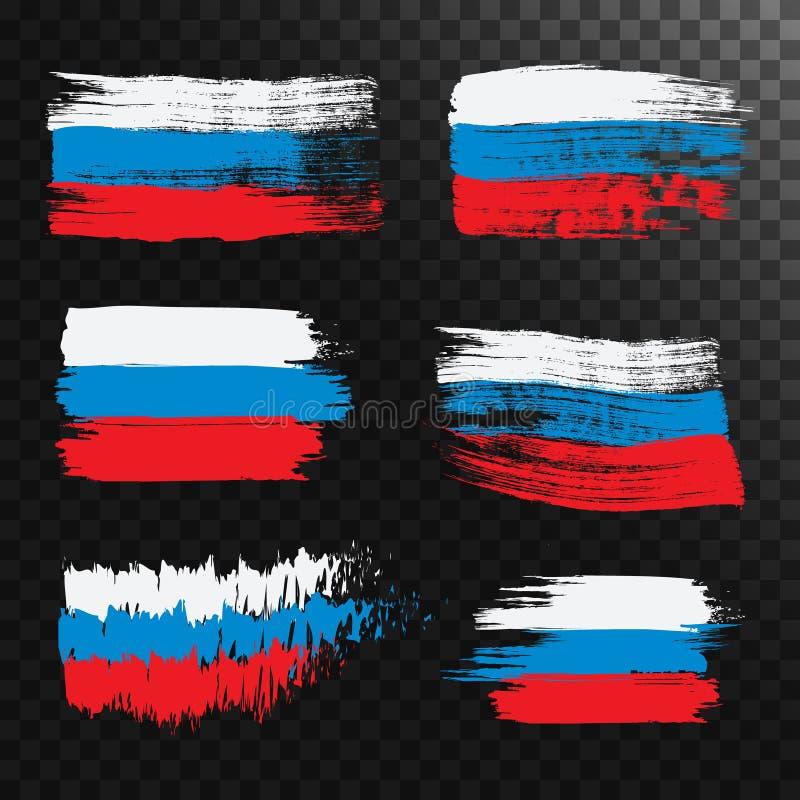 Σύνολο ρωσικών σημαιών grunge, που απομονώνεται στο διαφανές υπόβαθρο διανυσματική απεικόνιση