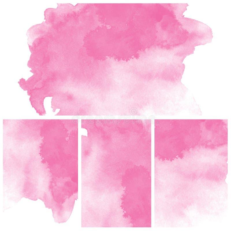 Σύνολο ρόδινου αφηρημένου χρώματος τέχνης υδατοχρώματος διανυσματική απεικόνιση