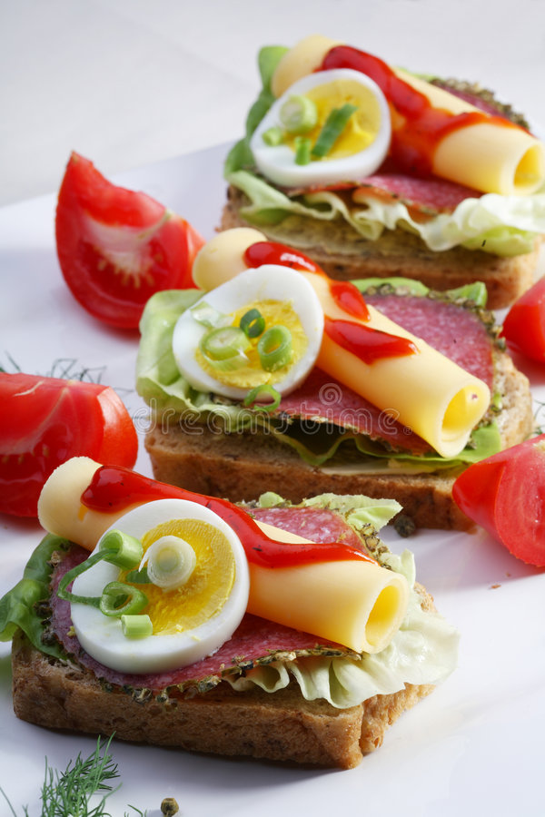 σύνολο σίτου σάντουιτς σαλαμιού ψωμιού στοκ εικόνα