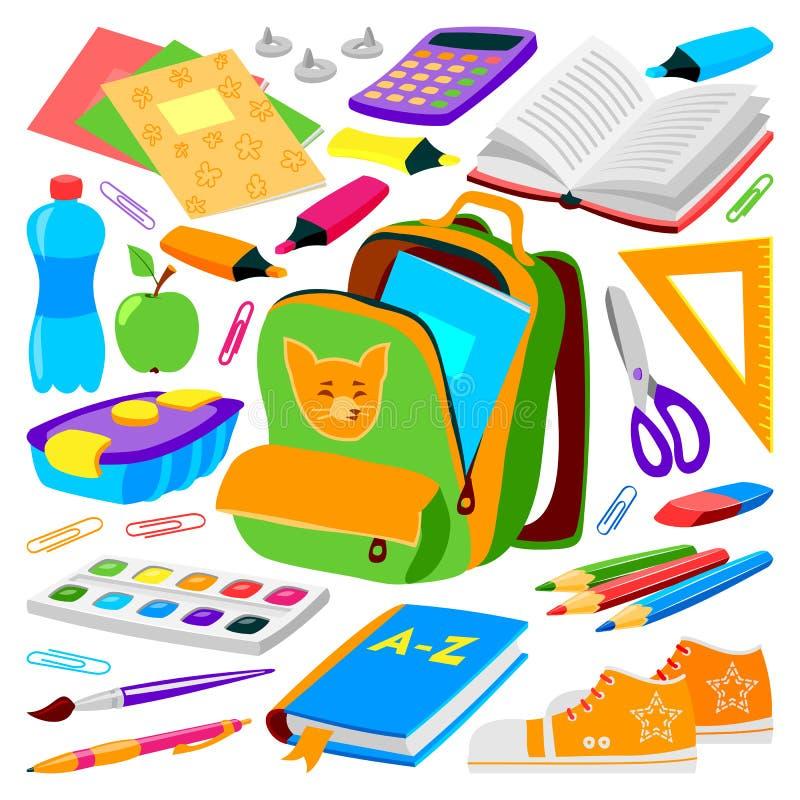 Σύνολο σακιδίων πλάτης σχολικών τσαντών προμηθειών παιδιών της στάσιμης διανυσματικής απεικόνισης σάκων φερμουάρ εκπαιδευτικής διανυσματική απεικόνιση