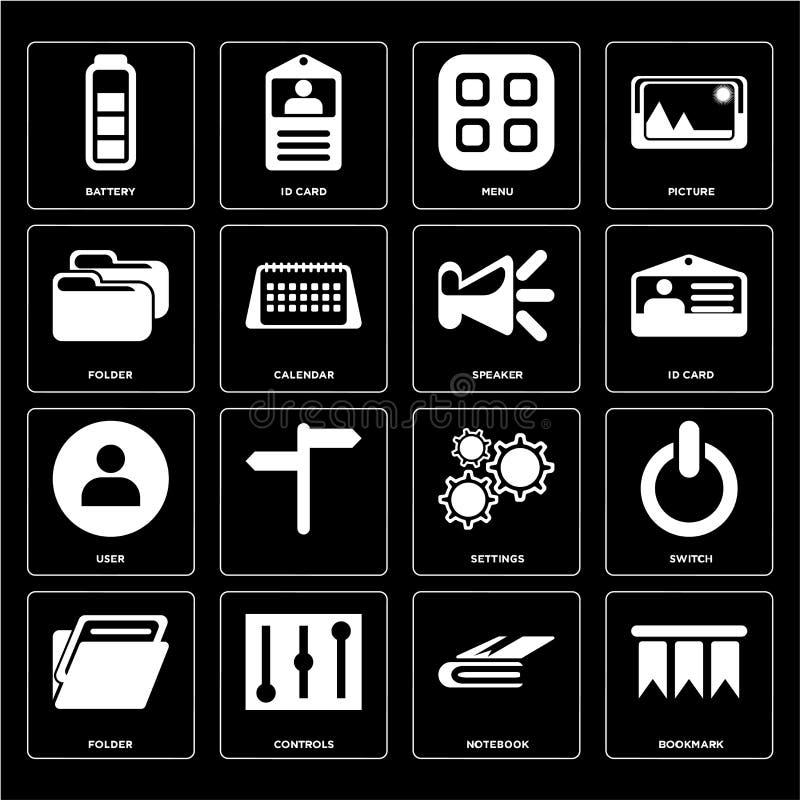 Σύνολο σελιδοδείκτη, σημειωματάριο, φάκελλος, τοποθετήσεις, χρήστης, ομιλητής, επιλογές διανυσματική απεικόνιση